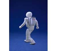 Back view of Honda's latest ASIMO humanoid robot.