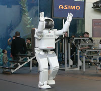 ASIMO demonstrated its capabilities hourly in front of the Aquarium of the Pacific's Blue Cavern exhibit during Technology Day.
