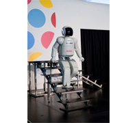 ASIMO demonstrates its ability to navigate a real-world environment during the Japan Culture + Hyperculture Festival at the Kennedy Center.