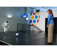 ASIMO demonstrates balance and agility at the Kennedy Center, Thursday, Feburary 7, 2008 in Washington DC.