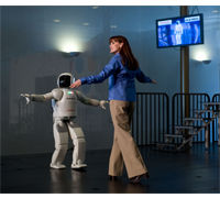 ASIMO demonstrates balance and agility during the Japan Culture + Hyperculture Festival at the Kennedy Center.