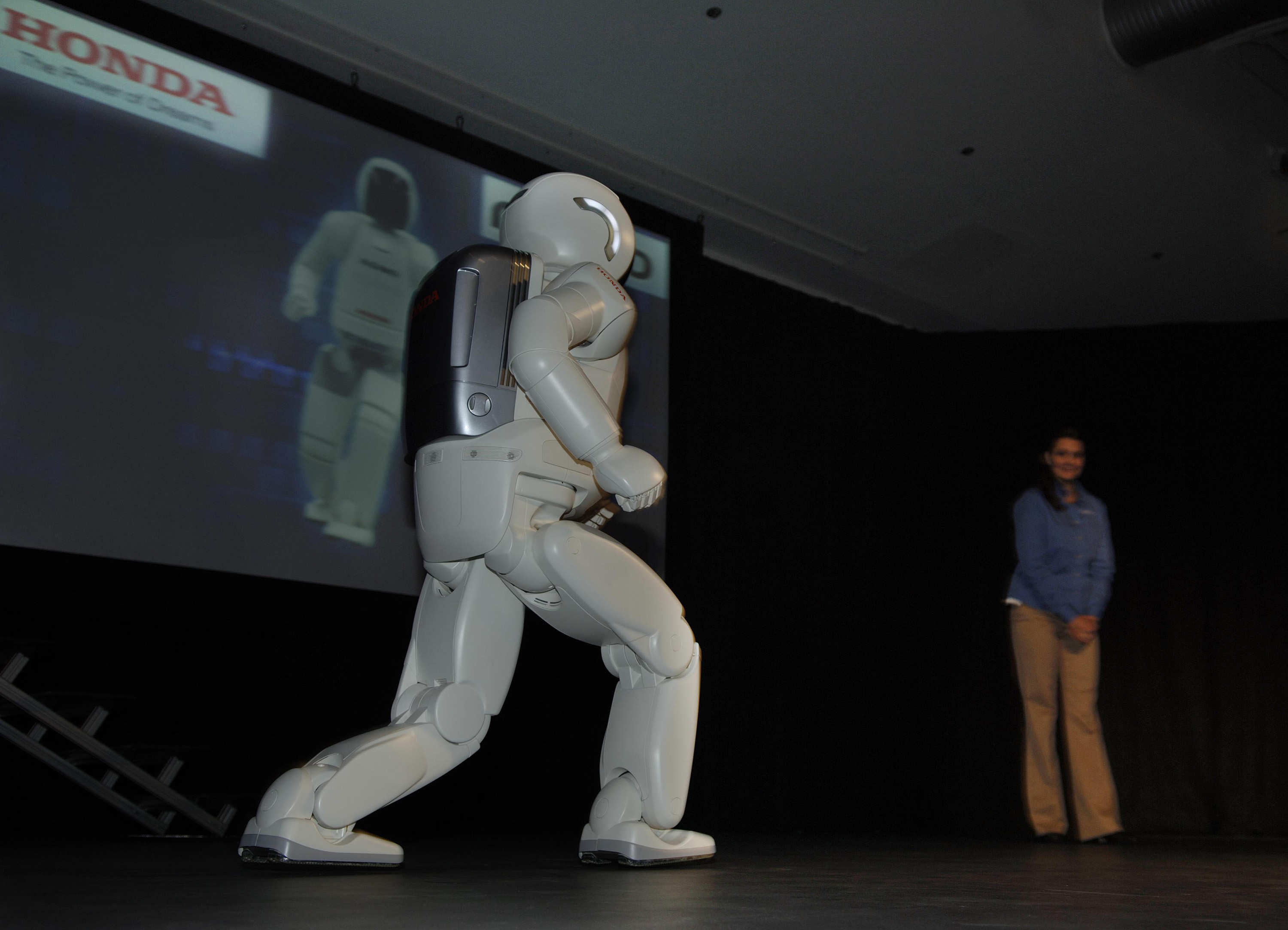 ASIMO demonstrated its latest mobility, including running, at the Honda Initiation Grant's 10th Annual Technical Horizon Symposium in Mountain View, Calif. held at the Computer History Museum.