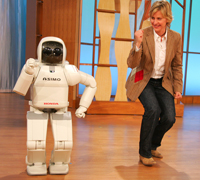 Ellen and ASIMO danced together on the February 10, 2006 Ellen DeGeneres Show.