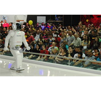 ASIMO will perform 56 shows during his time in Johannesburg on a vast, purpose-built stage.
