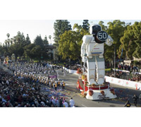 Honda's Rose Parade float, a replica of the ASIMO robot, kicked off Honda's 50th anniversary in the U.S. and lead the 120th Rose Parade, New Year's Day, Thursday, Jan. 1, 2009 in Pasadena, Calif.